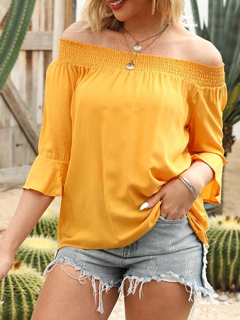 Ericdress Plain Off Shoulder Flare Sleeve Mid-Length Three-Quarter Sleeve Women's Blouse