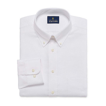 Stafford Mens Wrinkle Free Oxford Button Down Collar Fitted Dress Shirt, 17 36-37, White