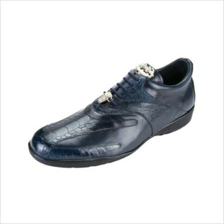 Belvedere Genuine Ostrich and Calfskin / Mens Bene Sneakers in Navy