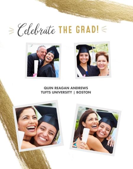 Graduation 11x14 Metal Panels, Home Décor -Celebrate The Grad Gold Brush