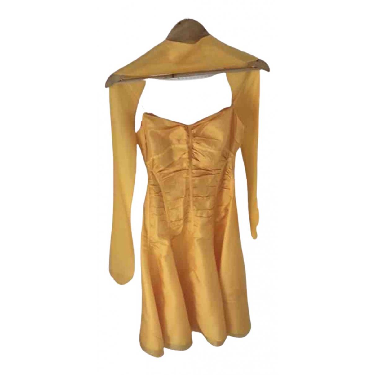 Celine \N Kleid in  Orange Seide