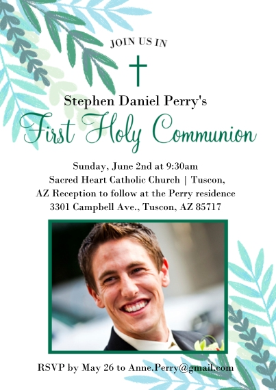 Communion 5x7 Cards, Premium Cardstock 120lb with Scalloped Corners, Card & Stationery -Communion Verdant