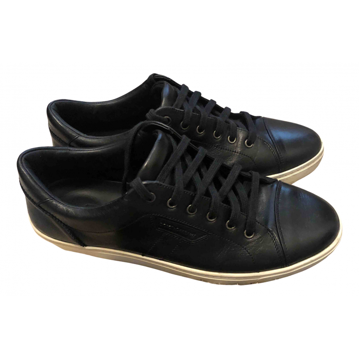 Dolce & Gabbana N Black Leather Trainers for Men 9 UK