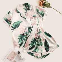 Satin Pajama Set mit Pflanzen Muster