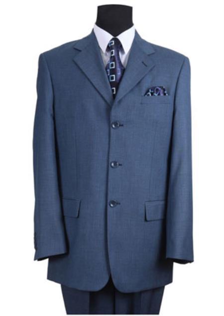 Mens Indigo Cobalt Blue  Navy 3 Buttons Suit Pleated Pants