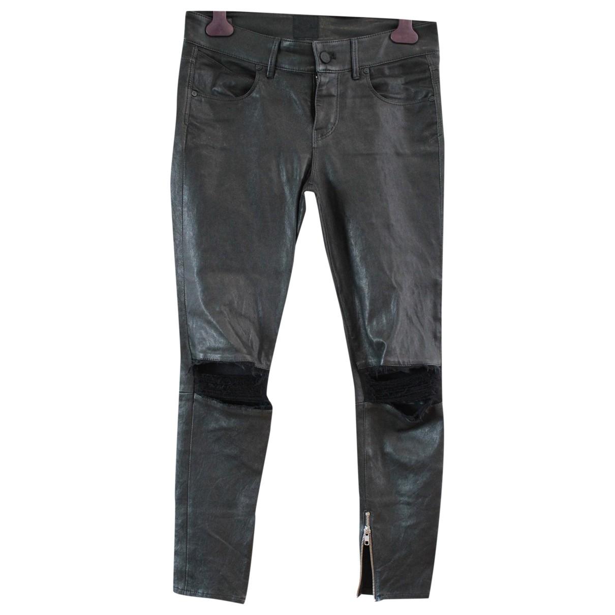 Rta \N Black Leather Trousers for Women S International
