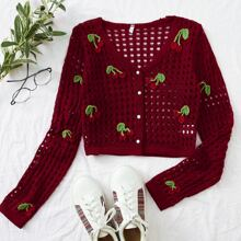 Cherry Embroidery Button Front Open Knit Cardigan