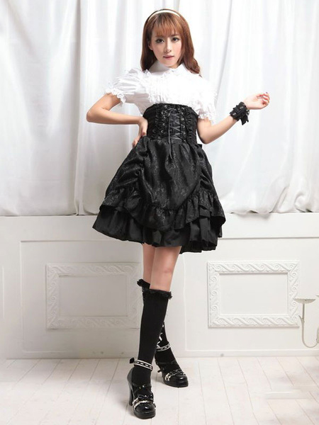 Milanoo Gothic Lolita Skirt Ruffles Ruched Lace Up Layered Black Lolita Bottom