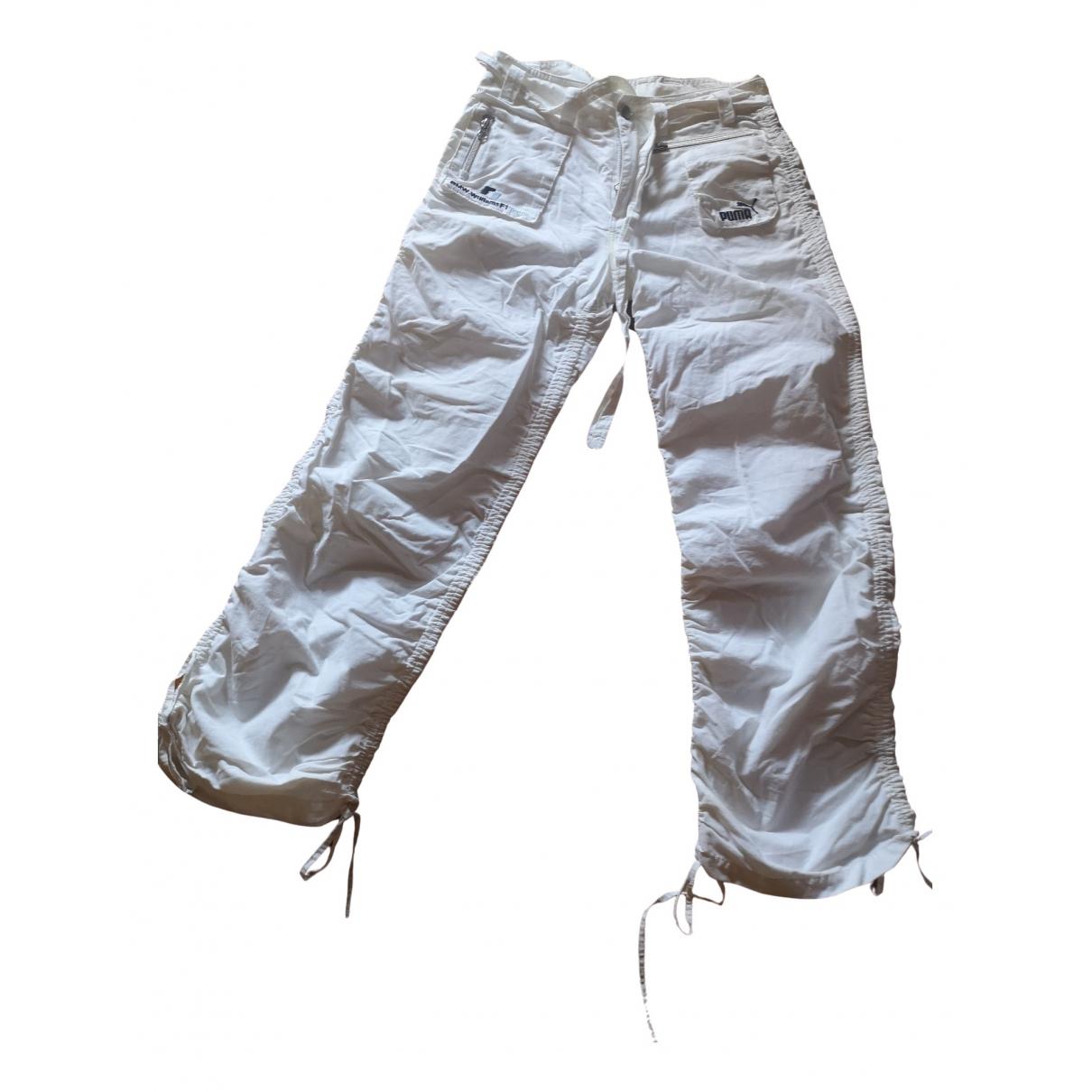 Puma \N White Cotton Trousers for Women 36 FR