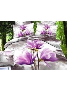 3D Light Purple Magnolia Printed Cotton 4-Piece Bedding Sets/Duvet Covers