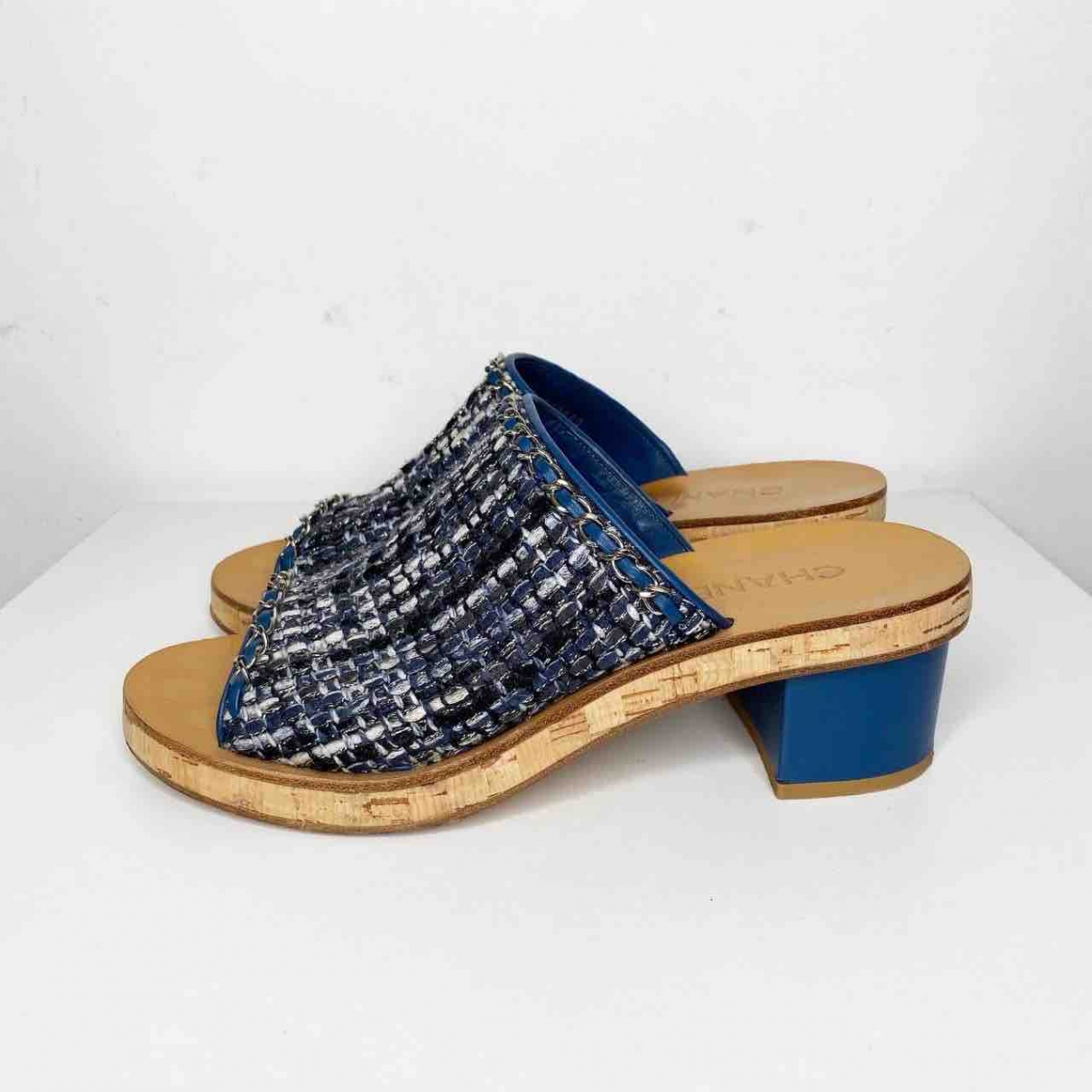 Chanel \N Navy Cloth Sandals for Women 39 EU