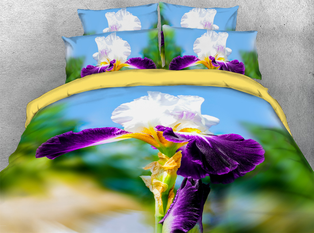 3D Iris Durable Floral 4-piece Bedding Sets No-fading Soft Reactive Printing Zipper Duvet Cover with Ties