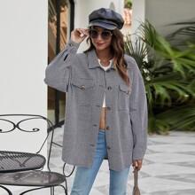 Mantel mit Hahnentritt Muster, Taschen Klappe und Knopfen