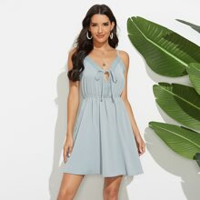 Cami Kleid mit Kontrast Spitze und Band vorn