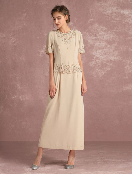 Milanoo Champagne Mother's Dress Indian Chiffon Beading Half Sleeve Back Slit Ankle Length Occasion Dress