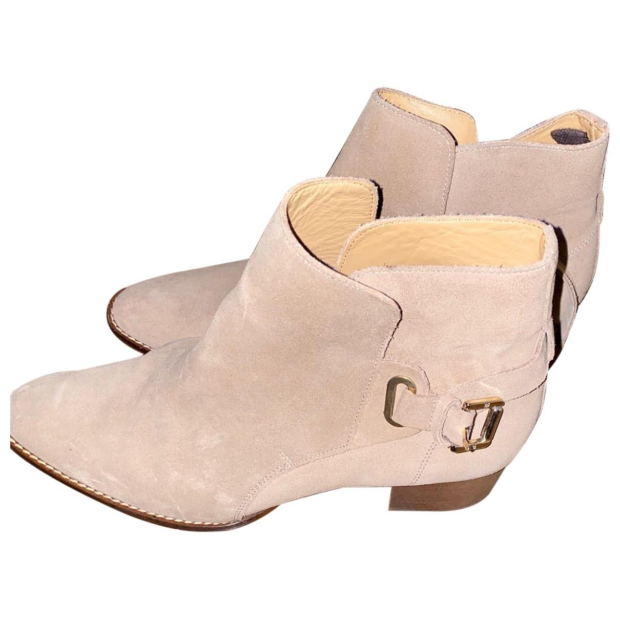 Massimo Dutti \N Ecru Suede Ankle boots for Women 38 EU