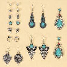 10 Paare Ohrringe mit Tuerkis Dekor