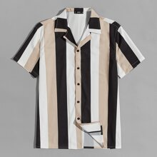 Guys Revere Collar Colorblock Striped Shirt