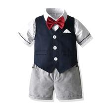 Toddler Boys 3pcs Bow Tie Ticket Pockets Blazer Vest Set