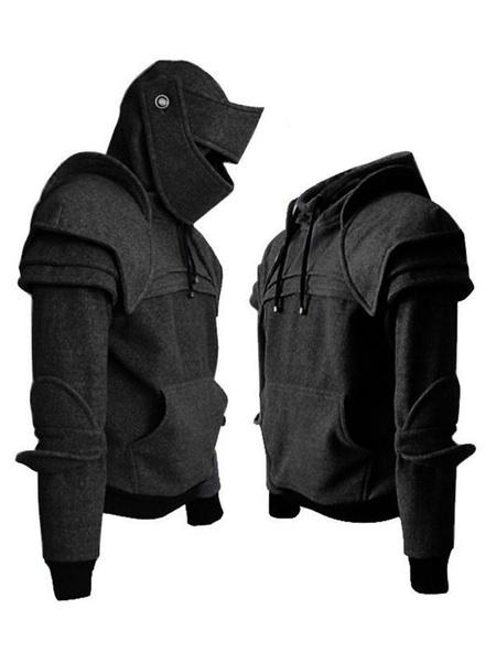 Milanoo Middle Age Costume Men Mask Armor Retro Costume Hoodie