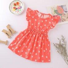 Baby Girl Allover Leaf Print Frill Cuff Dress