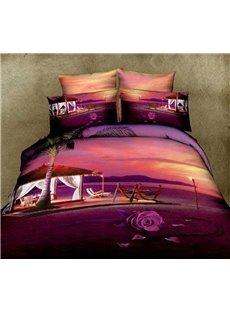 Romantic Rose and Beach Huts Print Purple 4 Piece Bedding Sets