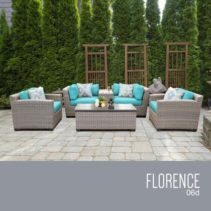 FLORENCE-06d-ARUBA Florence 6 Piece Outdoor Wicker Patio Furniture Set 06d with 2 Covers: Grey and
