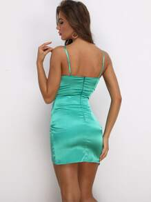 Fold Pleat Satin Asymmetrical Hem Dress
