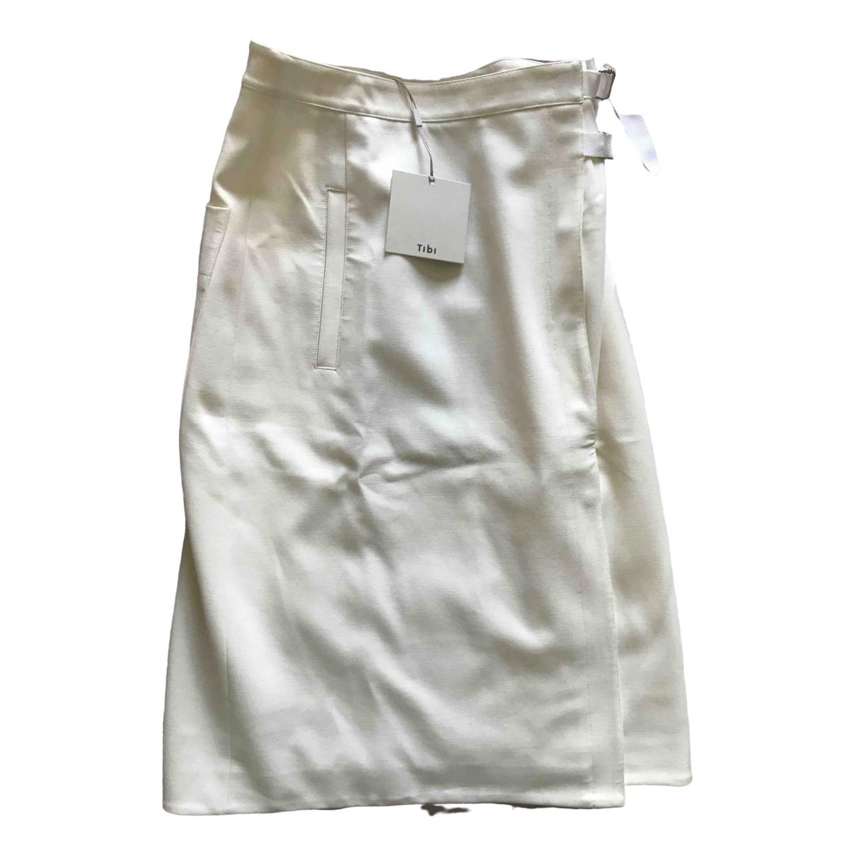 Tibi \N White Cotton - elasthane skirt for Women 38 FR