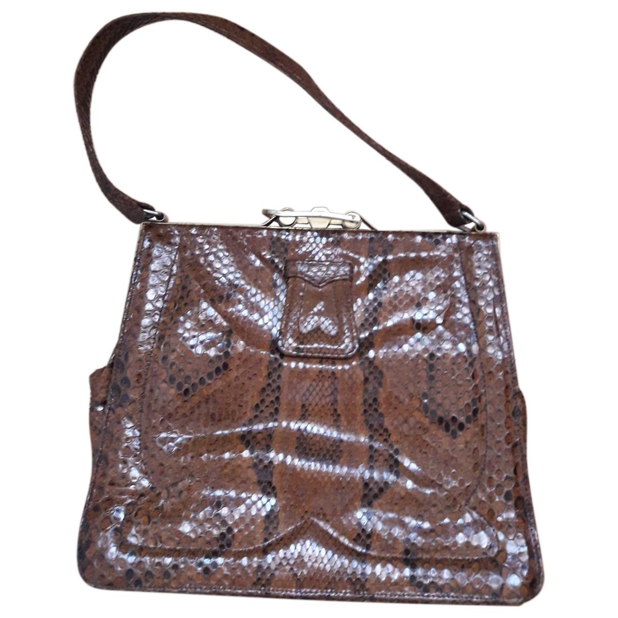 Non Signé / Unsigned \N Brown Python handbag for Women \N