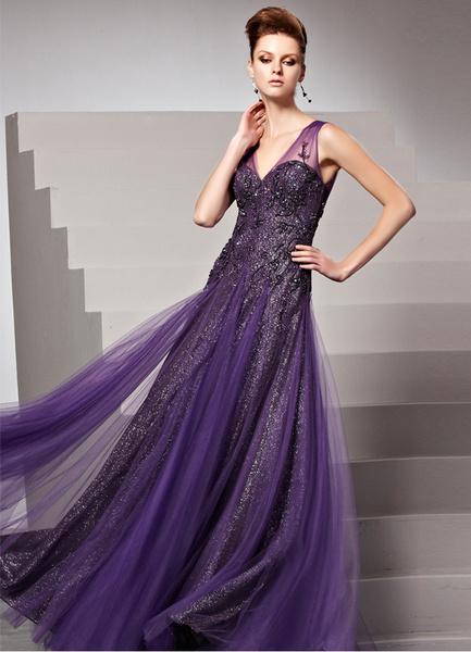 Milanoo Grape V-Neck Applique Sheath Matte Satin Womens Evening Dress