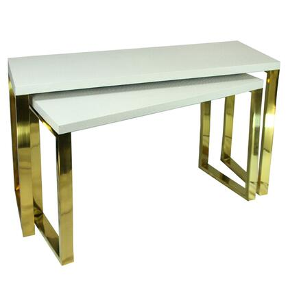 BM206808 Rectangular Wood and Metal Console Tables  White and Gold  Set of