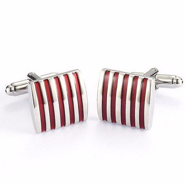 Men Stripe Metal Cufflinks Copper Enamel Square Accessories for Shirt