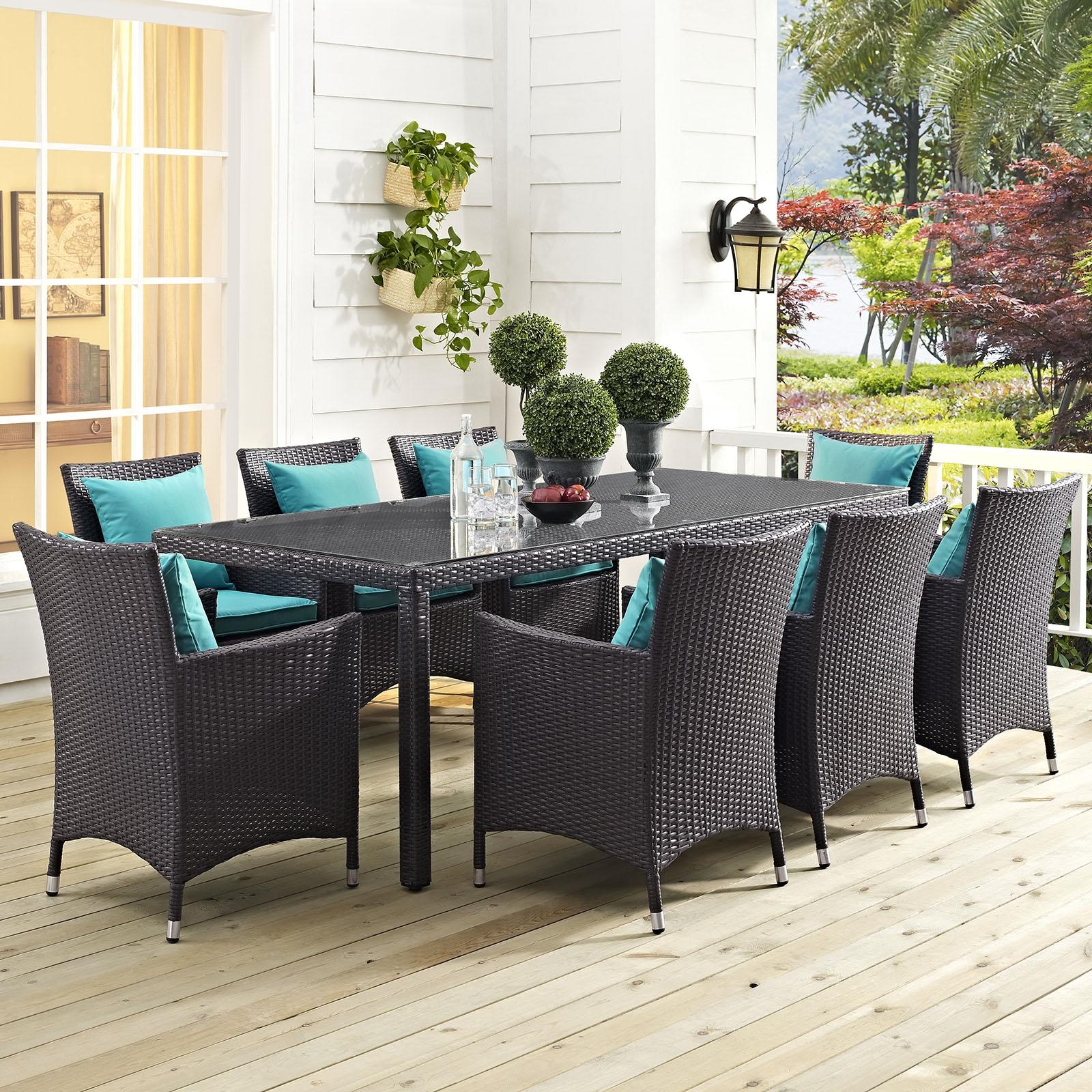 Convene 9 Piece Outdoor Patio Dining Set in Espresso Turquoise
