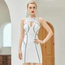 Adyce vestido ajustado de vendaje con tiras cruzadas con cinta en contraste