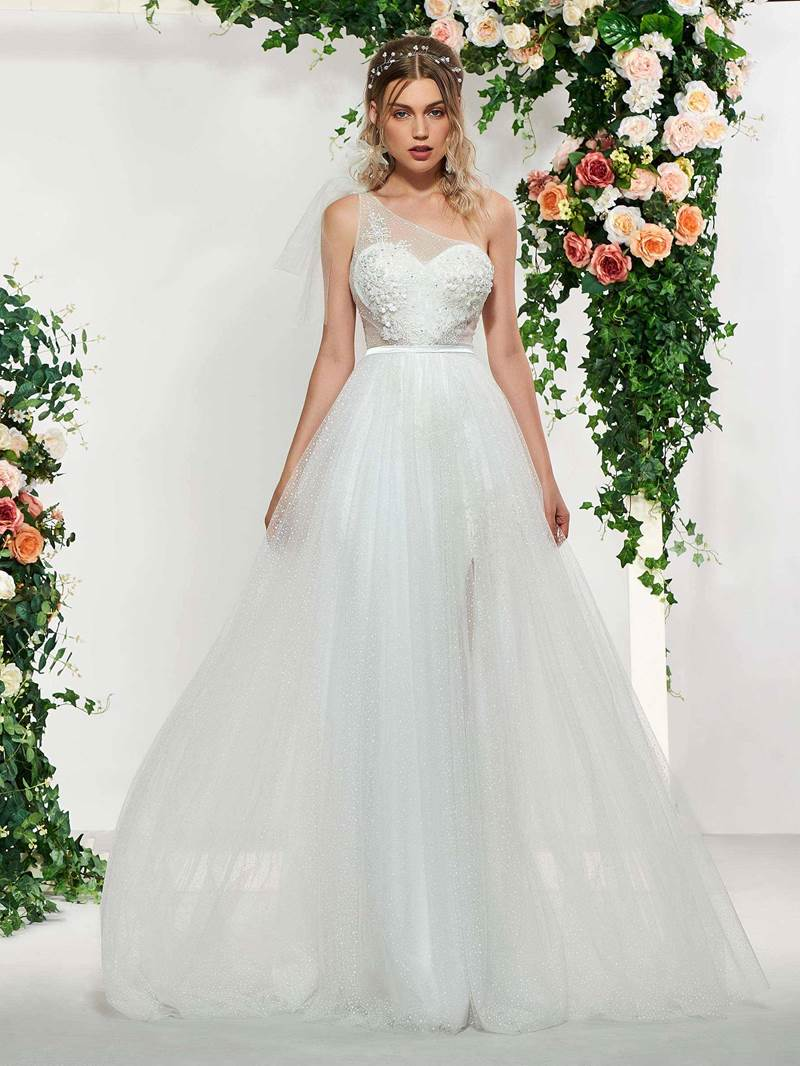 Ericdress One Shoulder Beading Appliques Wedding Dress
