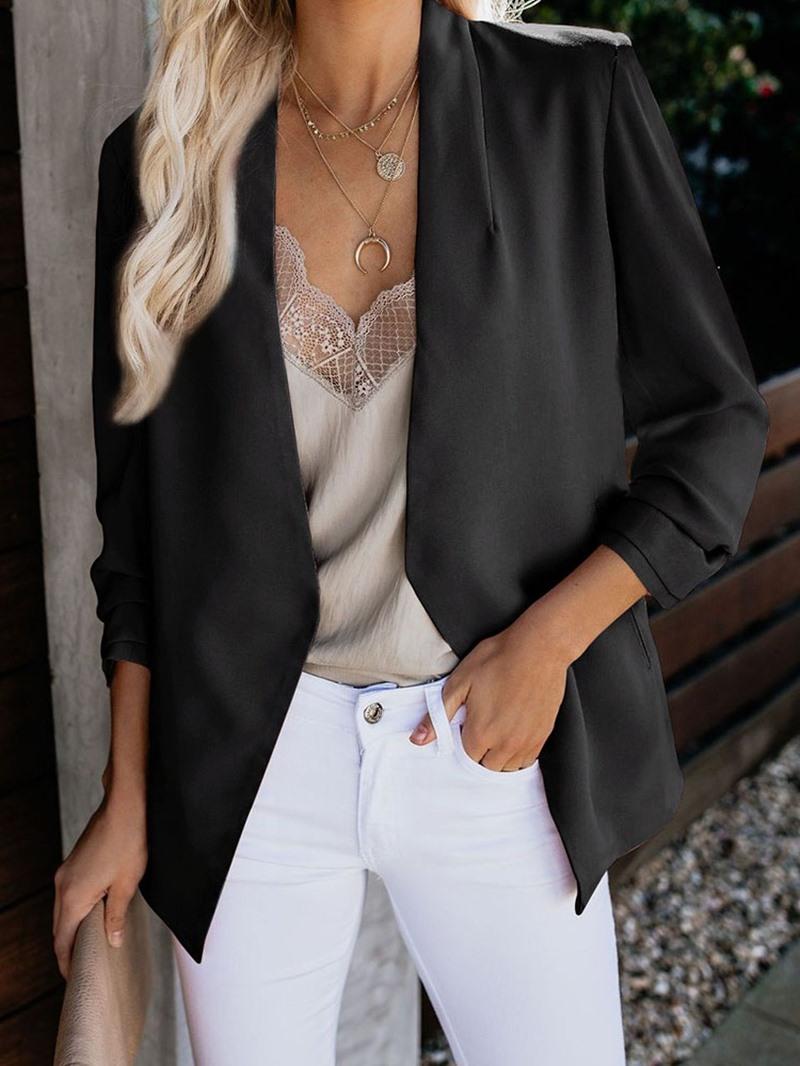 Ericdress Plain Wrapped Long Sleeve Pocket Mid-Length Casual Blazer