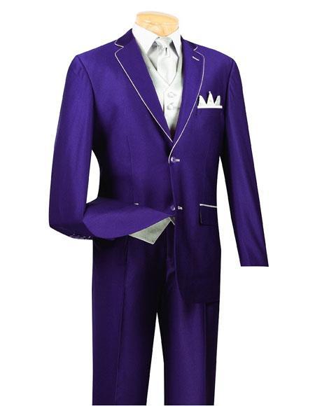 Mens Single Breasted 5Piece Purple 2Button Notch Lapel Side Vents Suit