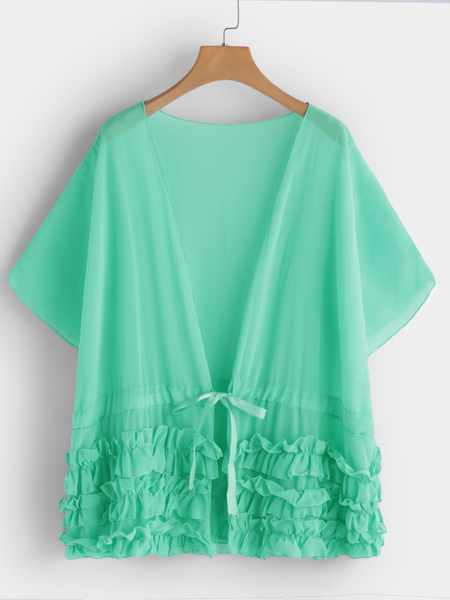 Yoins Green Pleated Design Plain V-neck Bat Sleeves Beachwear