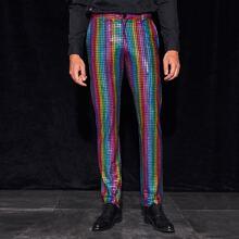 Men Rainbow Striped Glitter Pants
