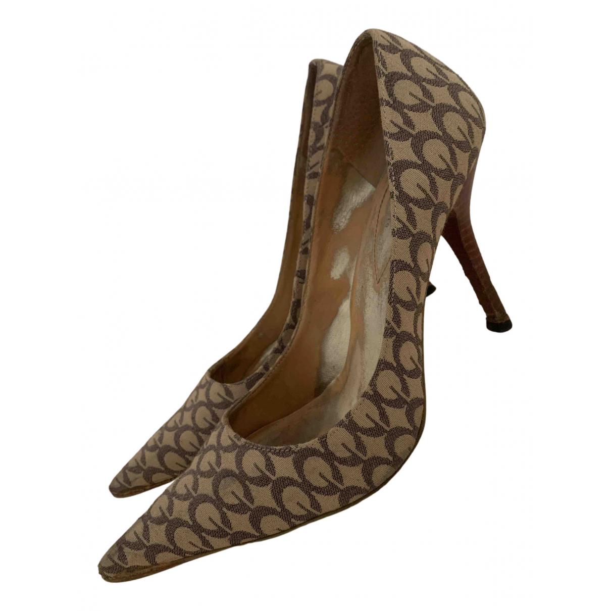 Guess N Beige Cloth Heels for Women 37 EU