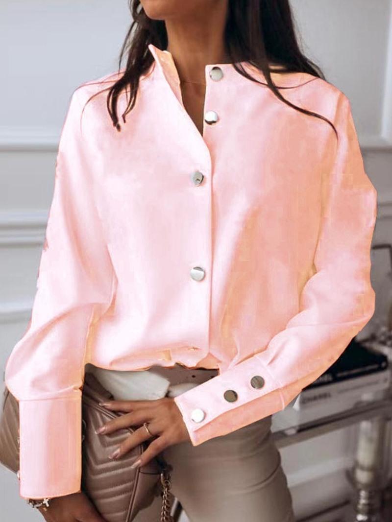 Ericdress Button Plain Standard Long Sleeve Women's Blouse