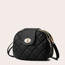 Twist Lock Quilted Crossbody Bag