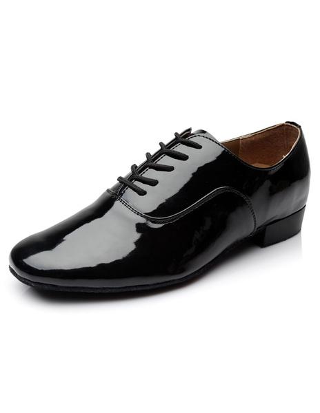 Milanoo Zapatos baile latino blanco encaje esmaltado PU zapatos para los hombres