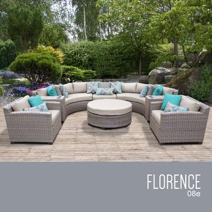 FLORENCE-08e-BEIGE Florence 8 Piece Outdoor Wicker Patio Furniture Set 08e with 2 Covers: Grey and