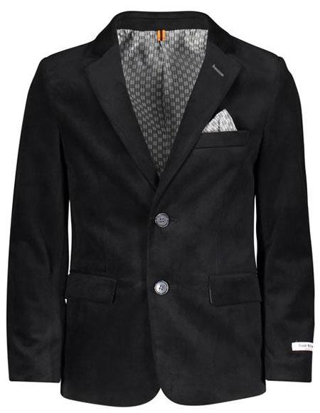 Boys ~ Children ~ Kids Velvet ~ Velour Blazers Sport Coat Jacket Black