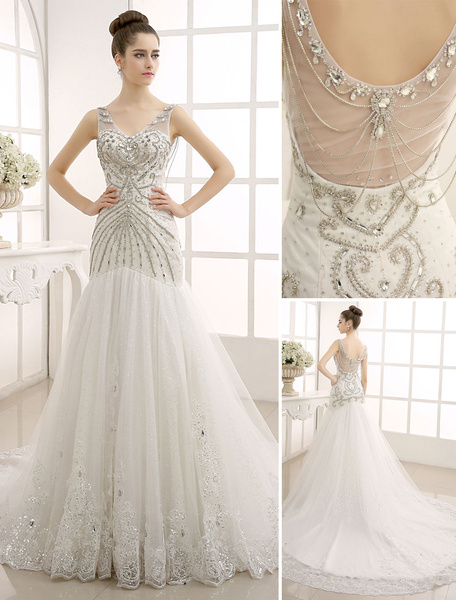 Milanoo V-Neck Backless Mermaid Wedding Gown with Netting