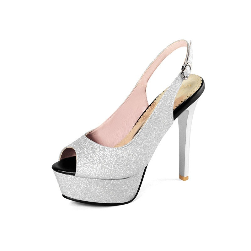 Ericdress Chunky Heel Slip-On Peep Toe Platform Sandals
