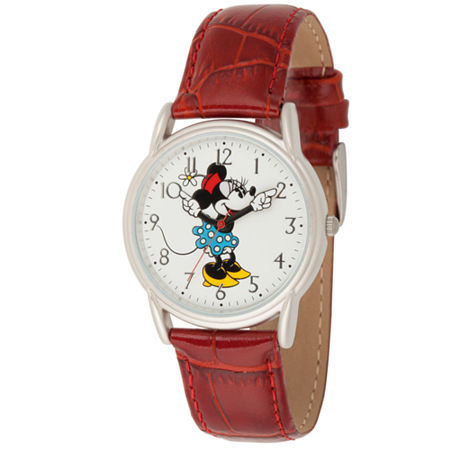 Disney Minnie Mouse Womens Red Leather Strap Watch-Wds000409, One Size , No Color Family