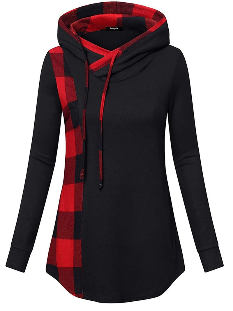 Ericdress Regular Color Block Long Sleeve Mid-Length Hoodie